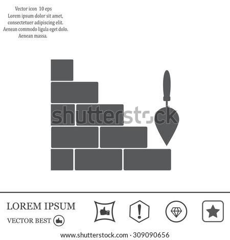 Vector icons brickwork and building trowel - stock vector