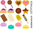 vector Icons : Cute Sweet Cake, Cupcake, Pie, Cheesecake and pastel Macoron - stock vector