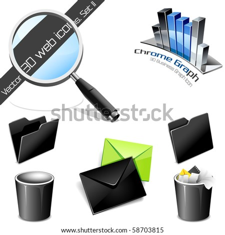 Vector icons: 3D web icons. Set 2. Please visit my gallery for more! - stock vector
