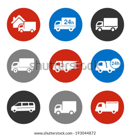 Vector icons - delivery method, free delivery and quick delivery home, truck, car symbols - stock vector