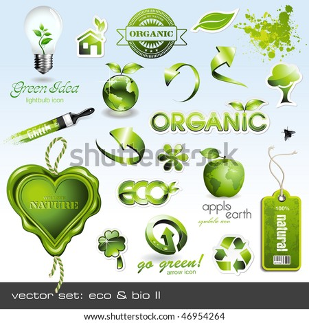 vector icons: eco & bio II - stock vector