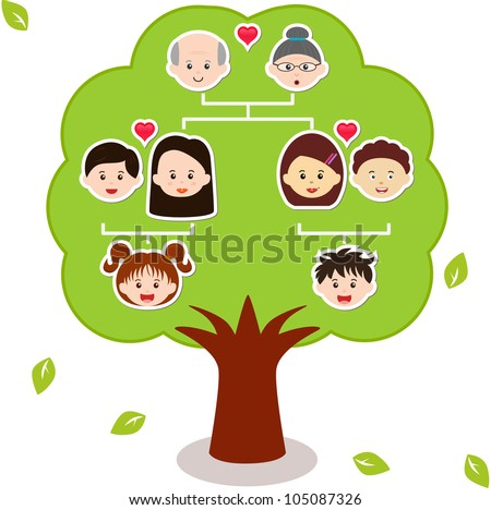 Vector Icons: Family Tree, A diagram on a genealogical tree, isolated on white background - stock vector