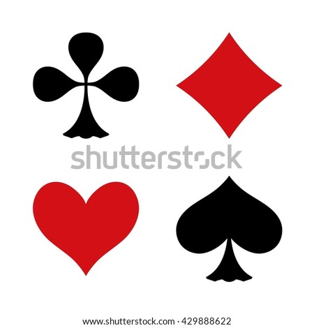 Vector  icons. For any use / Playing Cards. Black / red on white background. Flat design. Illustration. - stock vector