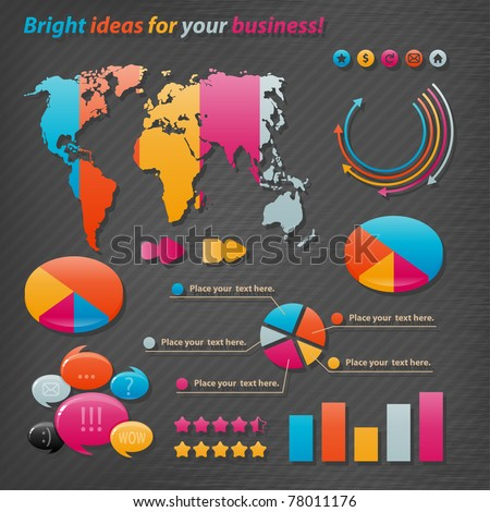 Vector icons for business presentations and reports. - stock vector