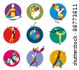 Vector icons for human development activities inside colored circles - stock vector