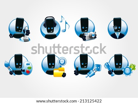 Vector icons for illustration work and play on the computer. Game icons. - stock vector