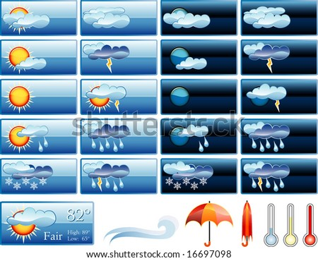 vector icons for weather report - stock vector
