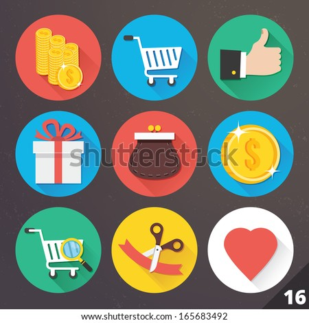 Vector Icons for Web and Mobile Applications. Set 16. - stock vector