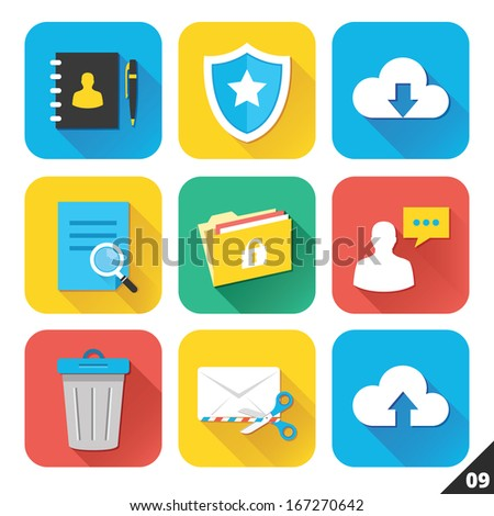 Vector Icons for Web and Mobile Applications. Set 9. - stock vector