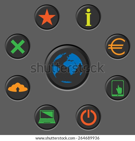 Vector icons for web design, website and mobile applications. Colored button set on the grey background. Internet infographic concept. World map technology scheme. Connection diagram. - stock vector