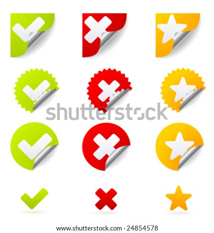 """Vector icons for """"Yes"""", """"No"""" and """"Favorite"""" - stock vector"""