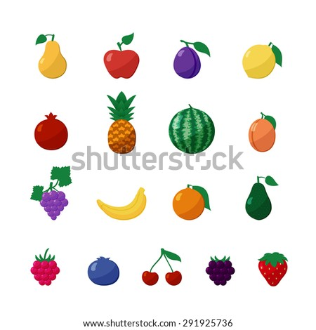 Vector Icons Fruits and Berries in Flat Style Set Isolated over White with Apple, Pear, Banana, Lemon, Cherry, Strawberry, Raspberry, Blueberry, Blackberry, Grapes, Orange, Plum, Watermelon, Avocado - stock vector