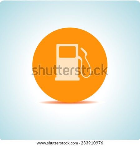"Vector icons ""fuel"" on the topic office, on an orange circle - stock vector"