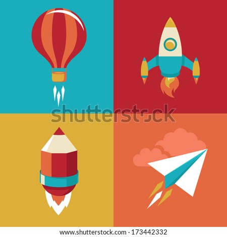 Vector icons in flat style - start up and launch. Trendy Illustrations for new businesses, innovation and development - stock vector