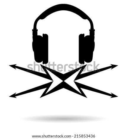 Vector icons in the form of headphones and lightning on a white background with shadow. Abstract logo symbiosis of music and energy - stock vector
