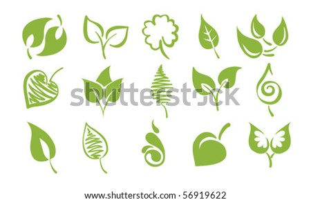 Vector icons - Leaves - stock vector