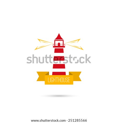 Vector icons lighthouse lighting the way with a ribbon. Logo. The concept of reliability, care, guiding. Flat design. red, yellow - stock vector