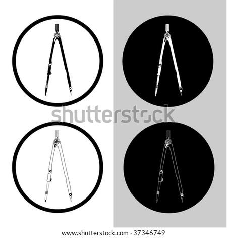 vector icons of caliper - stock vector