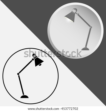 Vector icons of desk lamps, isolated on a black and white background. For graphic and web design.