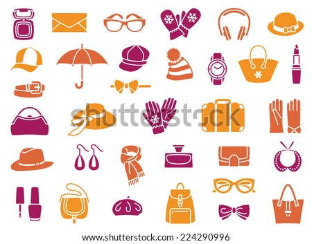 Vector icons of fashion accessories - stock vector