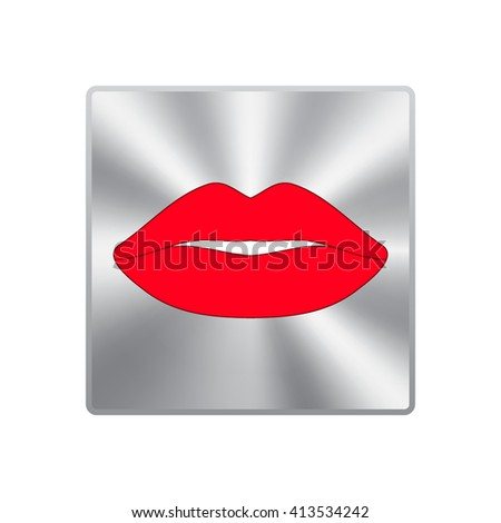 Vector icons of female lips - stock vector