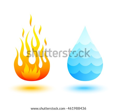 Vector icons of fire and water