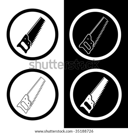 vector icons of hand saw - stock vector
