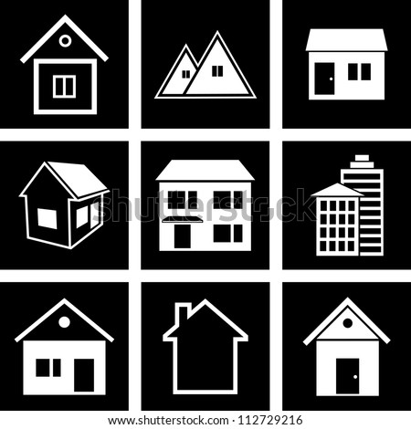 Vector icons of houses - stock vector