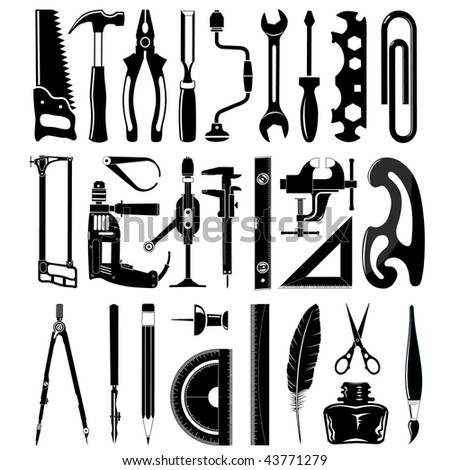 vector icons of instruments - stock vector