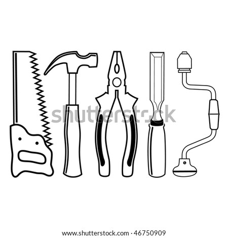 vector icons of joiner's tools - stock vector