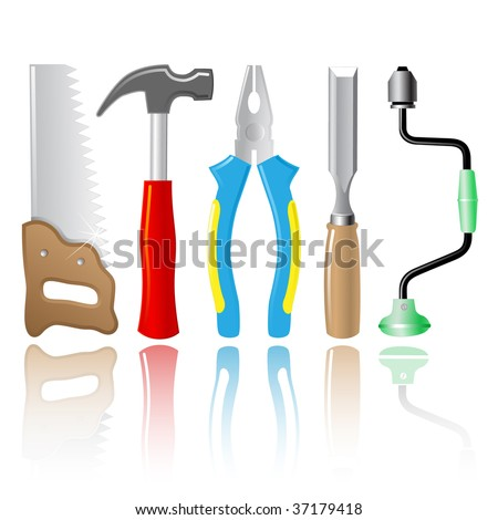 vector icons of joiner's tools. All layers are grouped. - stock vector