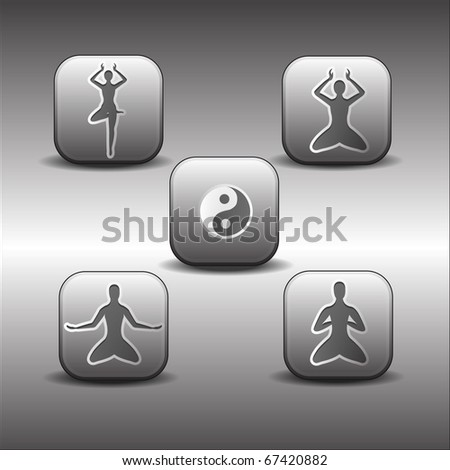 Vector Icons of meditations poses on a metallic background - stock vector