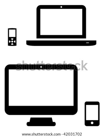 Vector icons of MP3 player, laptop, desktop and phone. - stock vector