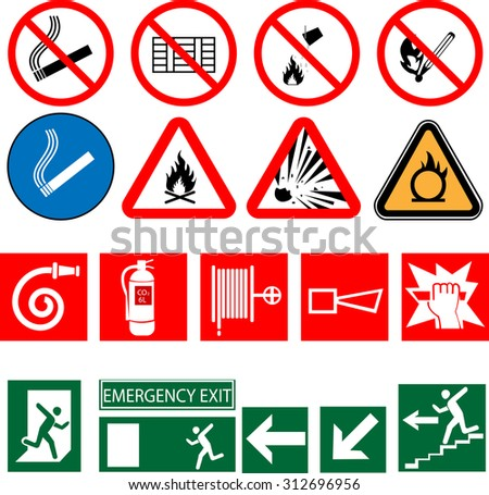 vector icons of signs on fire safety