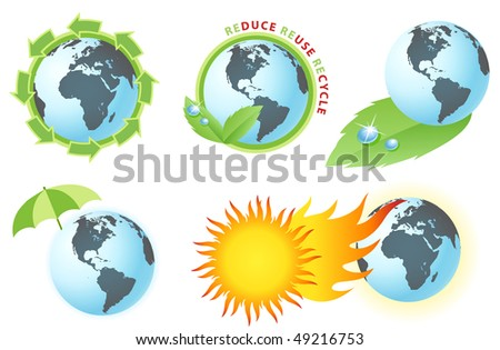 Vector icons of the Earth and the recycle symbols - stock vector
