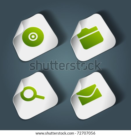 Vector icons on stickers set 3. Transparent shadow easy replace background and edit colors. - stock vector