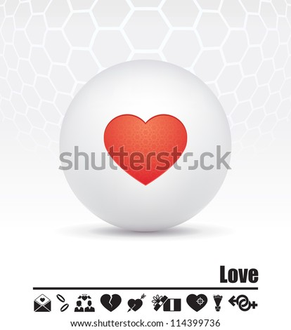 Vector icons on the theme of love - stock vector