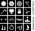 Vector icons on the theme of sport - stock photo