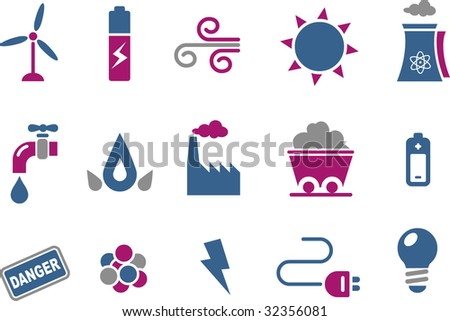 Vector icons pack - Blue-Fuchsia Series, energy collection - stock vector