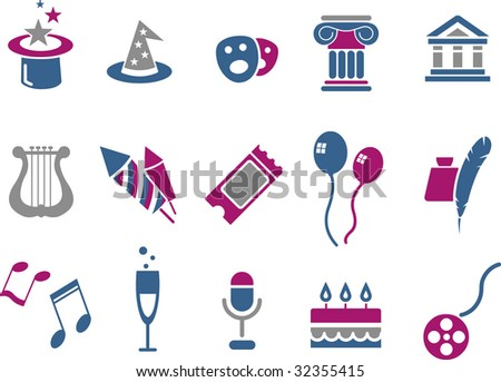 Vector icons pack - Blue-Fuchsia Series, entertainment and art collection - stock vector