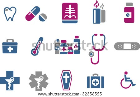 Vector icons pack - Blue-Fuchsia Series, health collection - stock vector