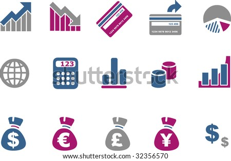 Vector icons pack - Blue-Fuchsia Series, money collection