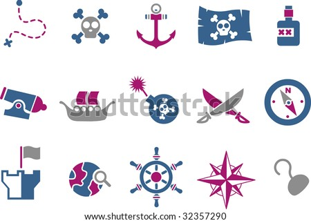 Vector icons pack - Blue-Fuchsia Series, pirate collection - stock vector