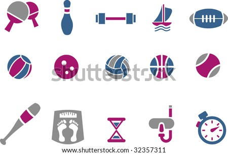 Vector icons pack - Blue-Fuchsia Series, sport collection - stock vector