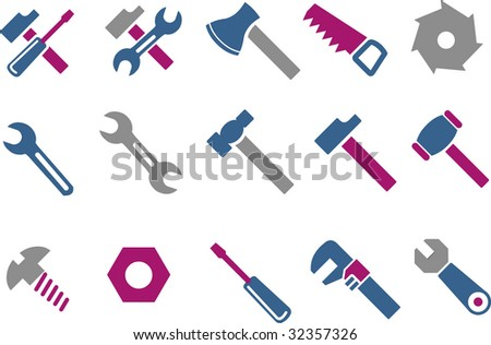 Vector icons pack - Blue-Fuchsia Series, tool collection