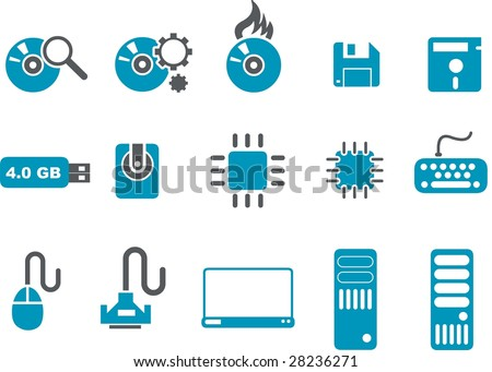 Vector icons pack - Blue Series, computer collection