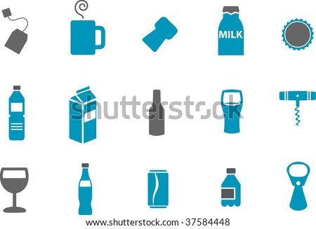 Vector icons pack - Blue Series, drinking collection - stock vector