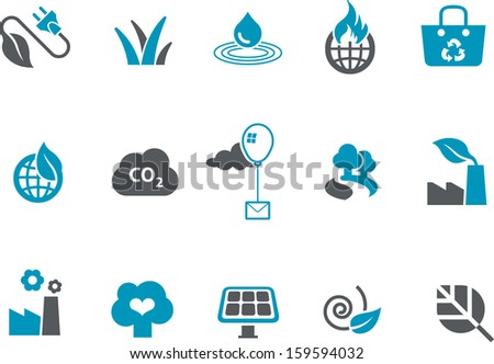 Vector icons pack - Blue Series, environment collection  - stock vector