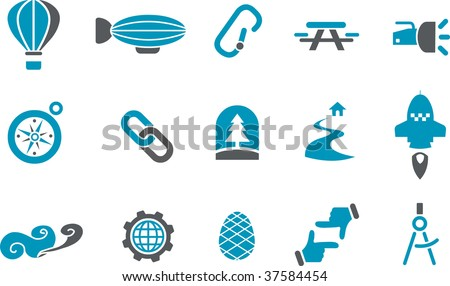 Vector icons pack - Blue Series, exploration collection - stock vector