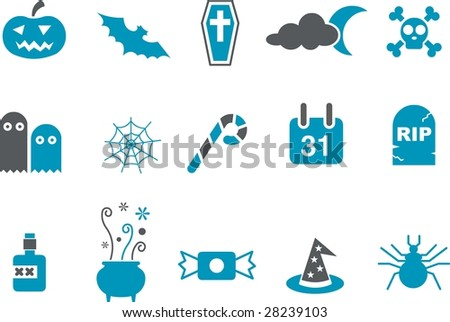 Vector icons pack - Blue Series, halloween collection